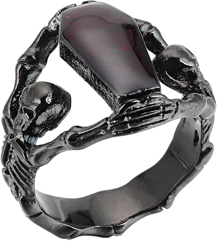 PAMTIER Men's Women's Zirconia Skull Ring Diamond Coffin Bike Party Wedding Jewelry