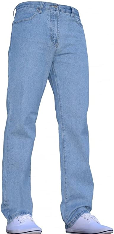 Mens Blue Circle Jeans Heavy Duty Workwear Basic Straight Regular Fit Jean 28-60