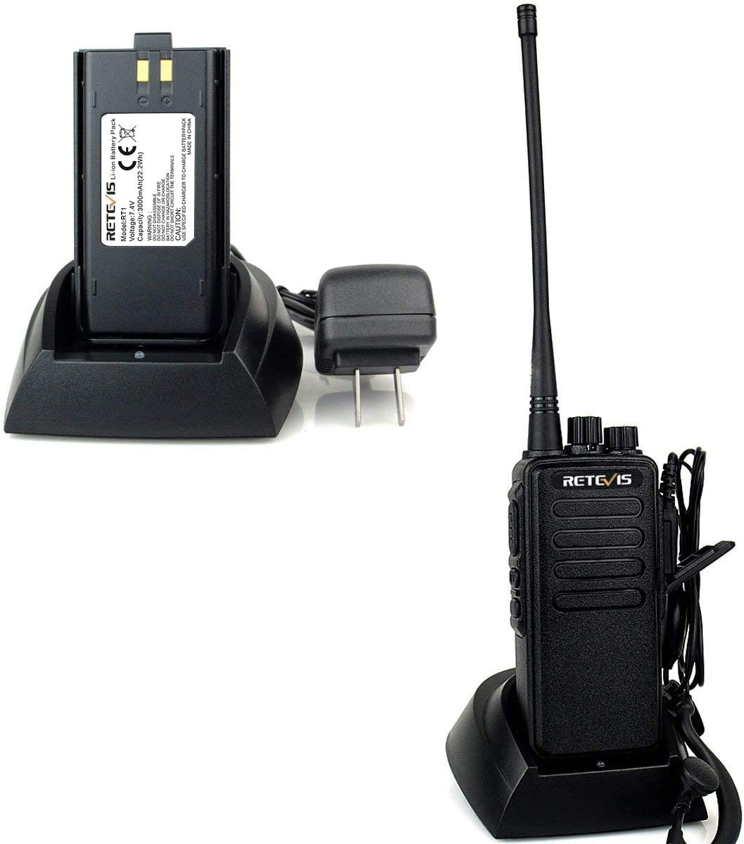 Retevis RT1 2 Way Radio High-Power VHF 16 Channel 3000mAh Two Way Radio with Earpiece 2 Pack and 2 Pin Speaker Mic 2 Pack