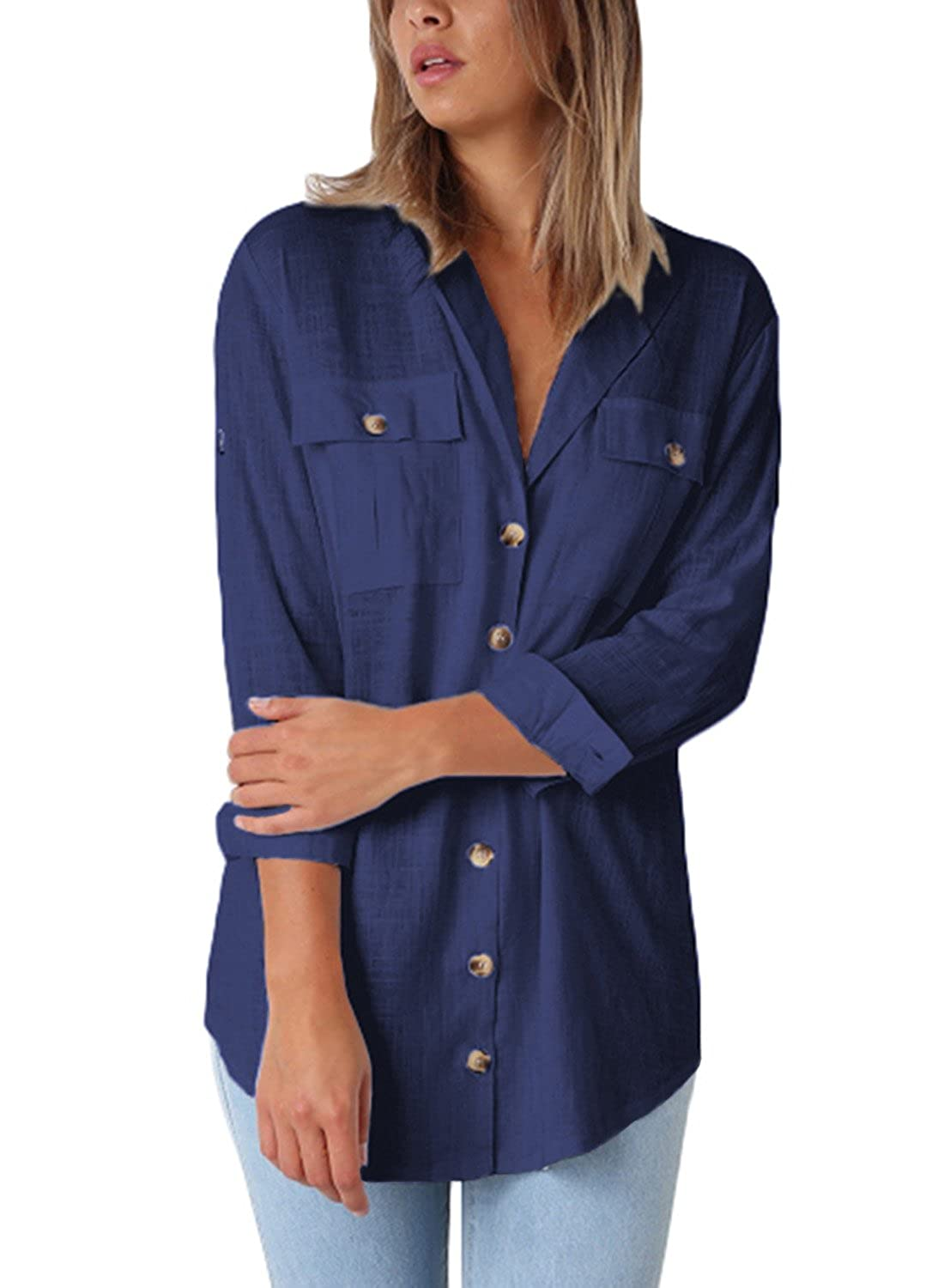 Asyoly Women Casual Wrap Front V Neck Long Sleeve Loose Fit Basic Blouse T Shirt Tops RU251335