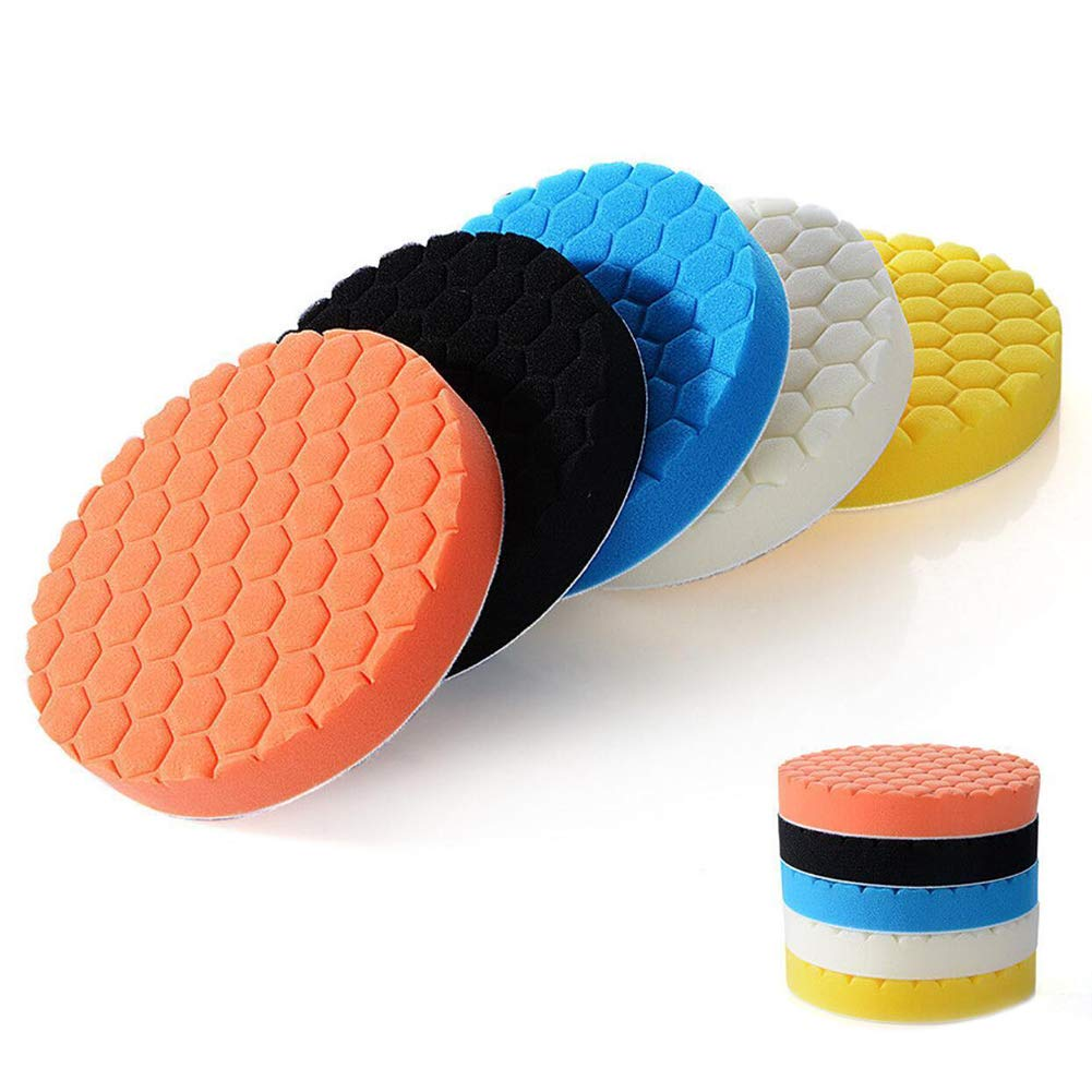 Strong Polyester Sponge /& Durable Car Sanding Auto Car Polisher Buffer Set with Drill Adapter Kit 3 inch,Multicolor 5Pcs Hook /& Loop Polishing Foam Head Kit