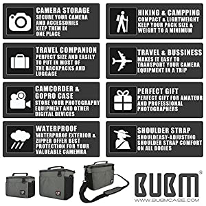 DSLR Camera Bag -BUBM Digital Camera Case Outdoor Shoulder Bag for Nikon, Canon, Sony,Waterproof and Heavy Duty Camera Insert Including Padded Divider and Shoulder Strap,2 Year Warranty(Army Green-S)
