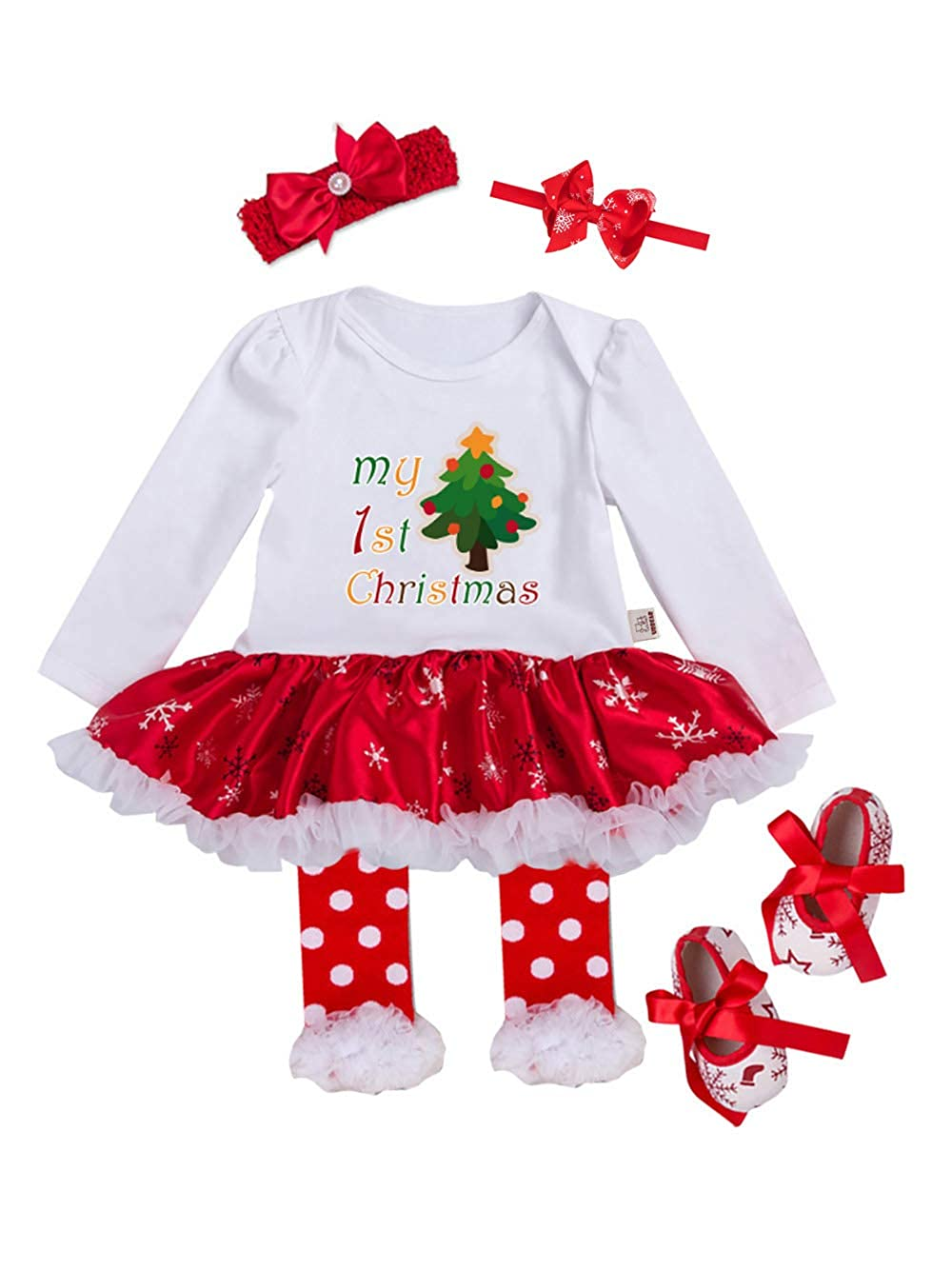 URBEAR Neonata Bambina mio Primo Costume della Santa del Partito del Abitini Vestito 5 pz E80901SDB4