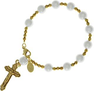 product image for Symbols of Faith 14K Gold-Dipped Simulated Pearl Rosary Bracelet
