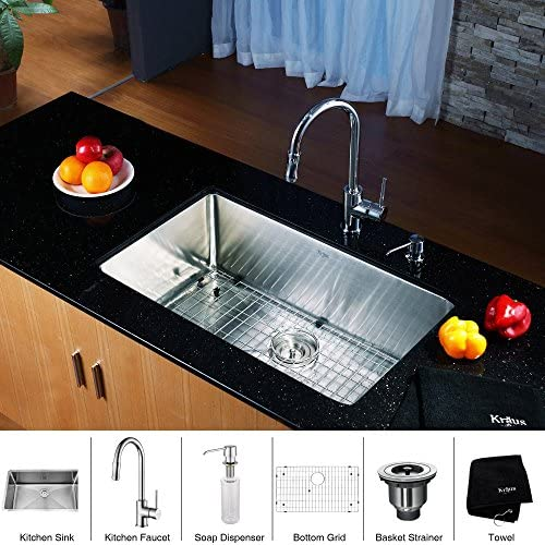 Kraus KHU100-30-KPF1622-KSD30CH 30 inch Undermount Single Bowl Stainless Steel Kitchen Sink with Chrome Kitchen Faucet and Soap Dispenser