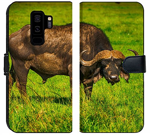 Samsung Galaxy S9 Plus Fabric Wallet Case Male Cape Buffalos Standing in Short Grass Image 34700099 Customized Tablemats Stain Re ()