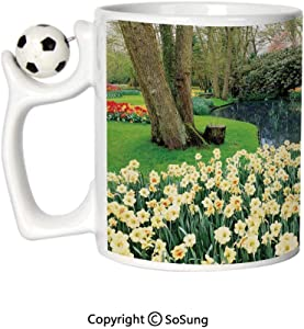 Spring Decor Sports Football Mug,Flower Garden in Recreation Park with Fresh Grass Field and Pond Nature Scene Ceramic Coffee Cup,Green Brown,Great Novelty Gift for Kids & Audlt