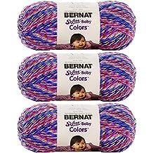 Bernat Softee Baby Colors Yarn, 4.2 Ounce, 310 Yards 3-Pack (Purple Rainbow) Bundle with Bonus Patterns by Bernat