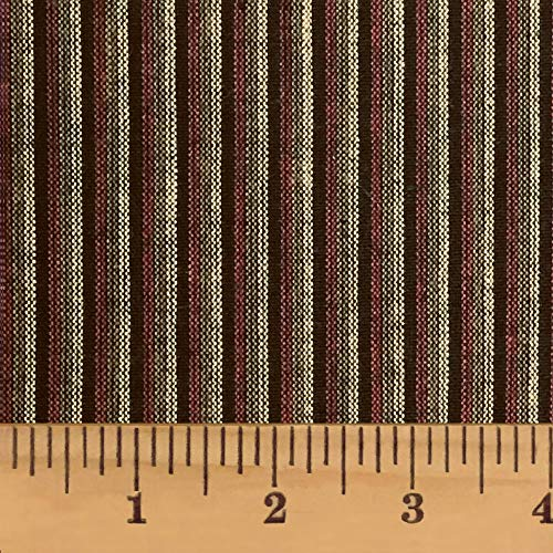 Chocolate Brown Stripe Cotton Homespun Plaid Fabric by JCS - Sold by The Yard