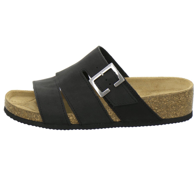 AFS-Schuhe 2749, Pantolette Damen Komfort, Bequeme Hausschuhe mit echtes Keilabsatz, Hochwertiges. echtes mit Leder, Made in Germany Schwarz ef8624