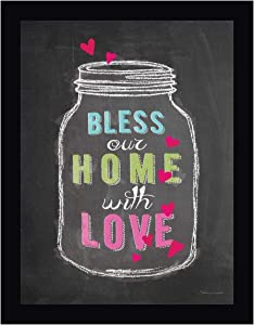 """Bless Our Home by Stephanie Marrott - 24"""" x 30"""" Black Framed Canvas Art Print - Ready to Hang"""