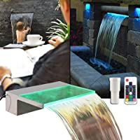 APONUO Lighted Spillway Fountain 12″ RGB LED Pool Fountain Koi Pond Swimming Pool 7 Color Remote Changing Spillway for Sheer Descent(2 Connector Choose)