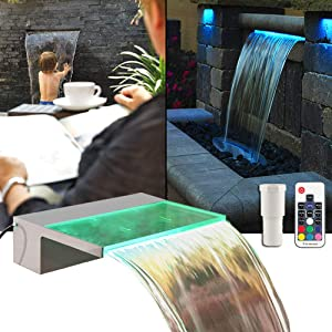 """APONUO Lighted Spillway Fountain 12"""" RGB LED Pool Fountain Koi Pond Swimming Pool 7 Color Remote Changing Spillway for Sheer Descent(2 Connector Choose)"""