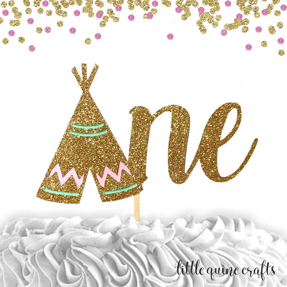 1 pc Wild One ARROW script bohemian boho tribal native Theme DOUBLE SIDED Gold Glitter Cake Topper Birthday Baby Shower boy girl