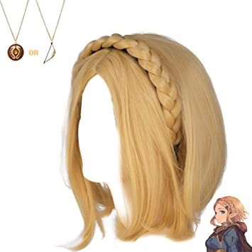 Princess Zelda Wig Short Hair Braids Headband Blond Hairstyle Breath Of The Wild Cosplay Costume