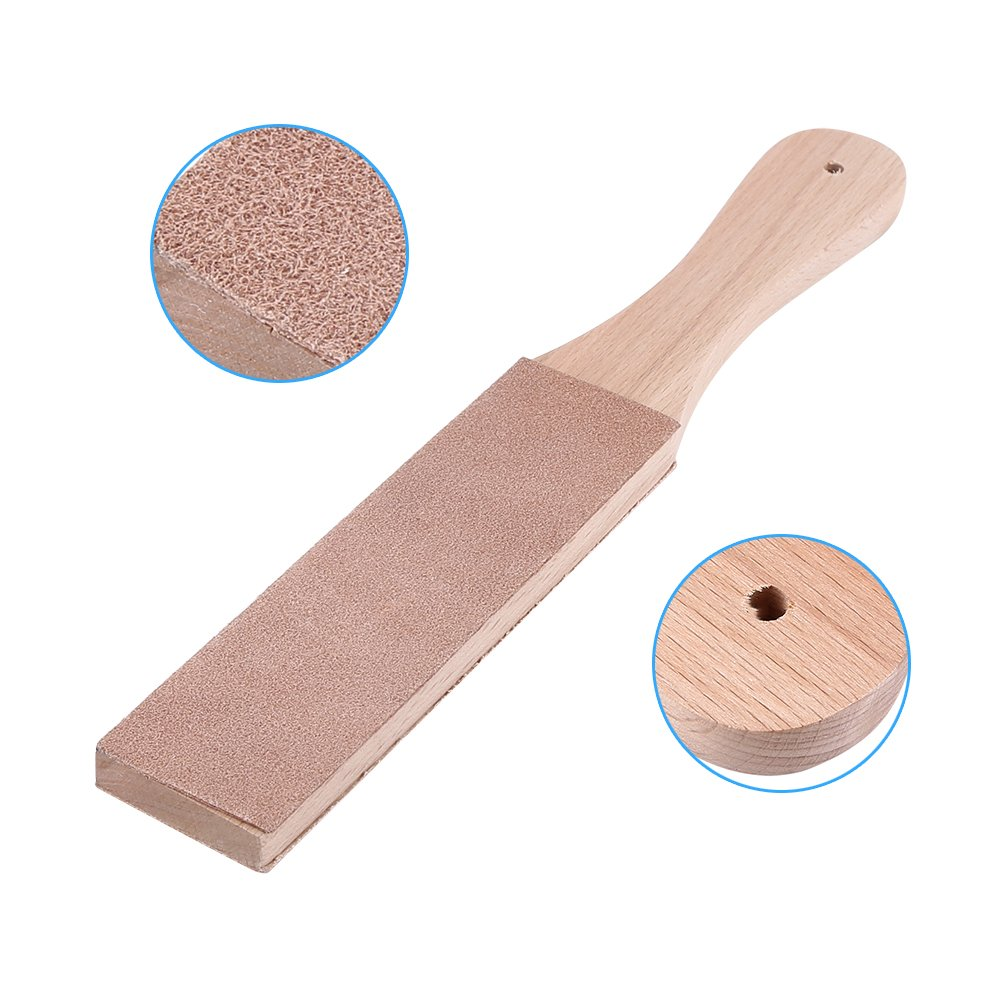 Wooden Handle Leathercraft Strop Kit, Double Sided Leather Paddle Strop, Leather Polishing Sharpener Handmade Leanther Making Walfront