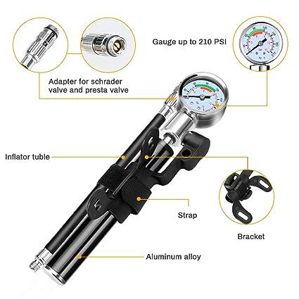 Kit de reparación de neumáticos para bicicletas con mini bomba de bicicleta con manómetro de alta presión 210 PSI,kit de reparación de pinchazos ...
