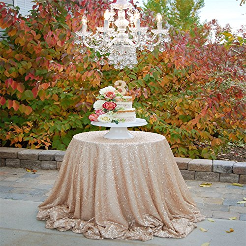 Diameter Champagne Sequin Tablecloths Wedding product image