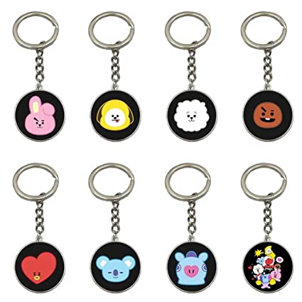 Cute Cartoon Kpop BTS BT21Bangtan Boys Keychain Key Ring Hot Gift for ARMY, 8 Pcs/Set (H23)