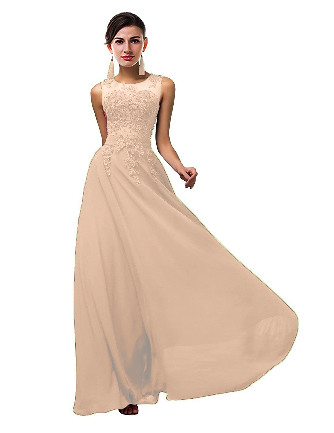 Champagne CaliaDress Women Tulle Appliques Long Bridesmaid Dress Prom Evening Gowns C002LF