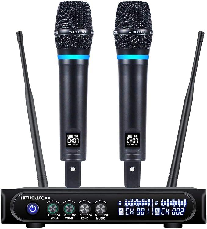 Amazon.com: Kithouse S9 UHF - Micrófono inalámbrico inalámbrico recargable para karaoke, micrófono inalámbrico dual con receptor Bluetooth + control de volumen ECHO para karaoke, cantar, reuniones, iglesia, 200 pies
