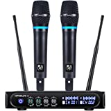 Kithouse S9 UHF Rechargeable Wireless Microphone System Karaoke Microphone Wireless Mic Cordless Dual with Bluetooth Receiver