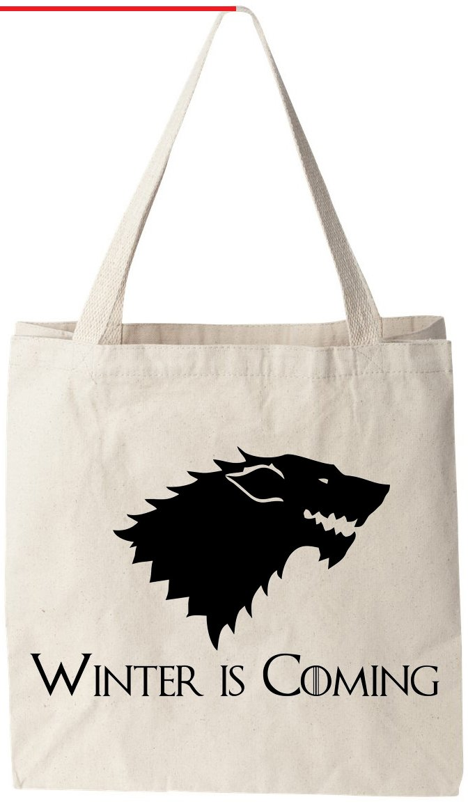 "Winter Is Coming Direwolf Game of Thrones (GOT) - Natural Cotton Canvas Tote Bag 12 Oz (11""X14""X5"") Reusable Ideal for Groceries, Shopping, School and Office Use"
