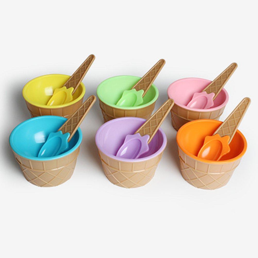 gzzebo Creative Cute Cone Eissch/üssel L/öffel Set Sommer Kinder Dessert Sch/üssel K/üche Geschirr Rose