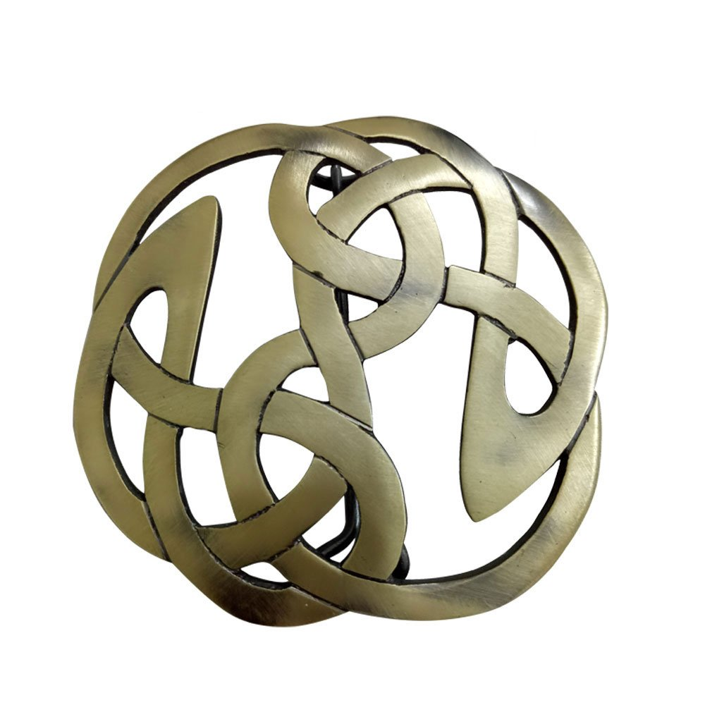 AAR Celtic Knot Kilt Fly Plaid Brooch for 3.50'' Diameter Antique Finish