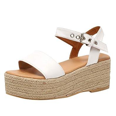 369e6c3e0 LOVOZO Women s Ladies Strap Ankle Buckle Platform Wedges Woven Sandals  Roman Shoes White