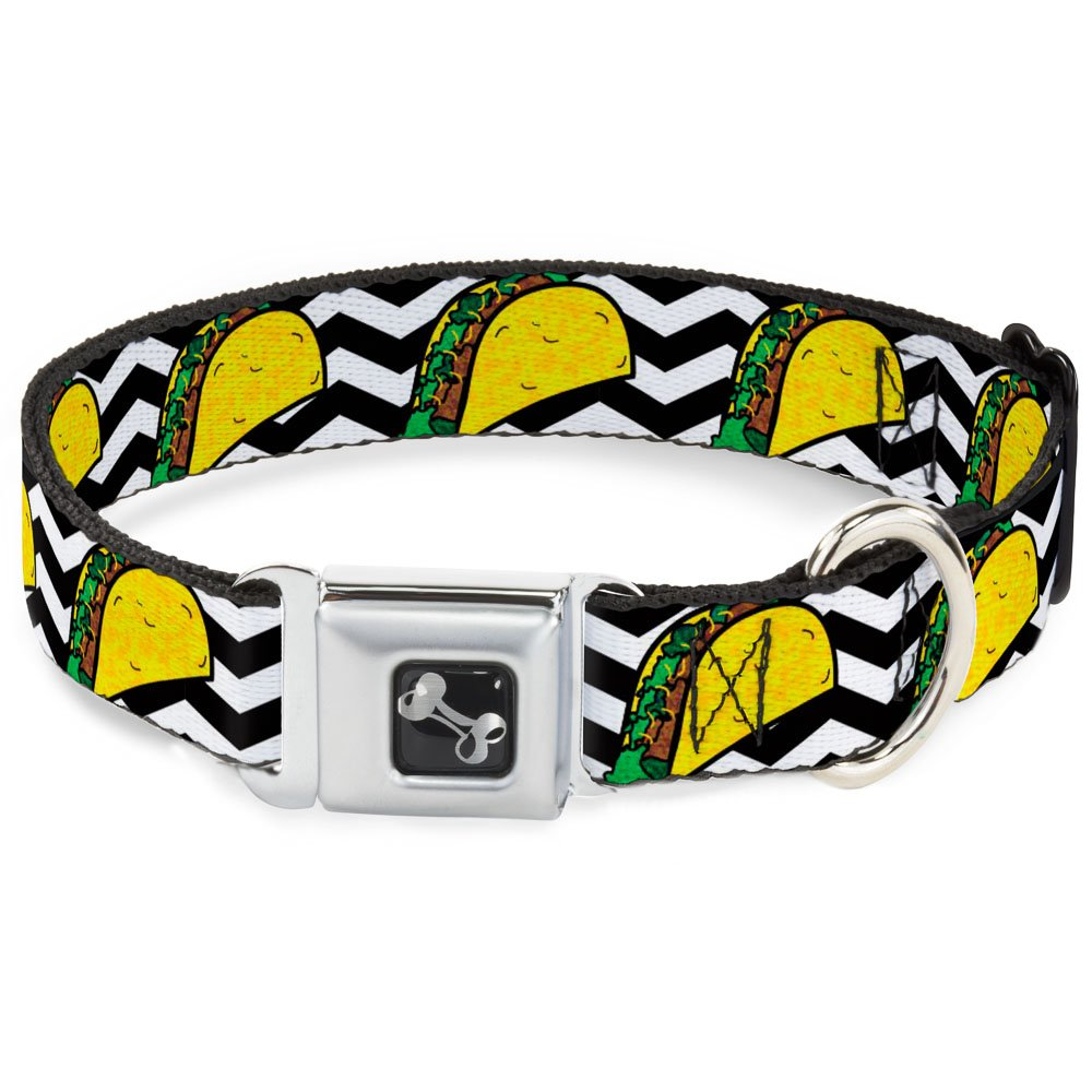 Buckle-Down Seatbelt Buckle Dog Collar Taco Chevron Black White 1  Wide Fits 9-15  Neck Small