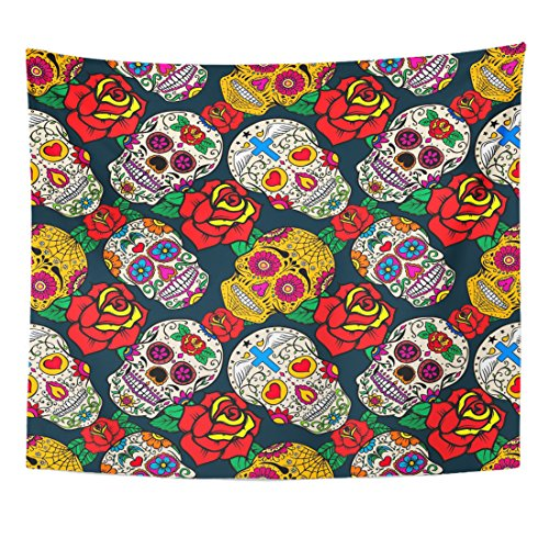 TOMPOP Tapestry Sugar Skulls and Roses Dead Day Dia De Los Home Decor Wall Hanging for Living Room Bedroom Dorm 50x60 Inches