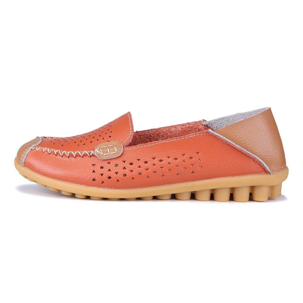 MXTGRUU Women's Leather Casual Slip-ONS Shoes B07DNY5FH7 8.5 B(M) US|Orange-3