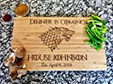 Dinner Is Coming - Game of Thrones - Custom Engraved Cutting Board - Personalized - Wedding - Engagement - Gift - Anniversary