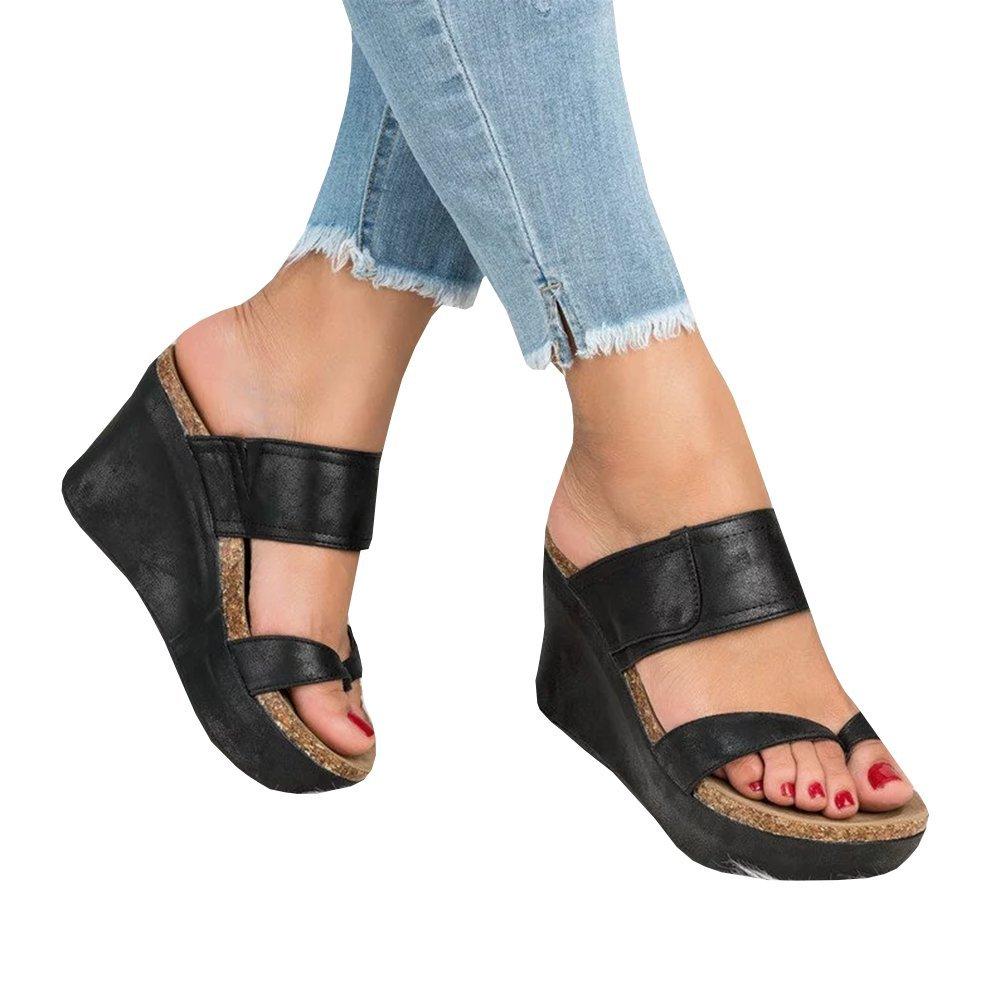 Bbalizko Womens Summer Sandal Wedges Boho Flip Flops Platform Shoes Slippers