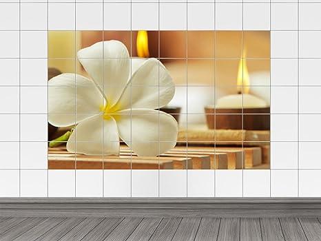 Piastrelle adesivo piastrelle quadro frangipani fiore con candele