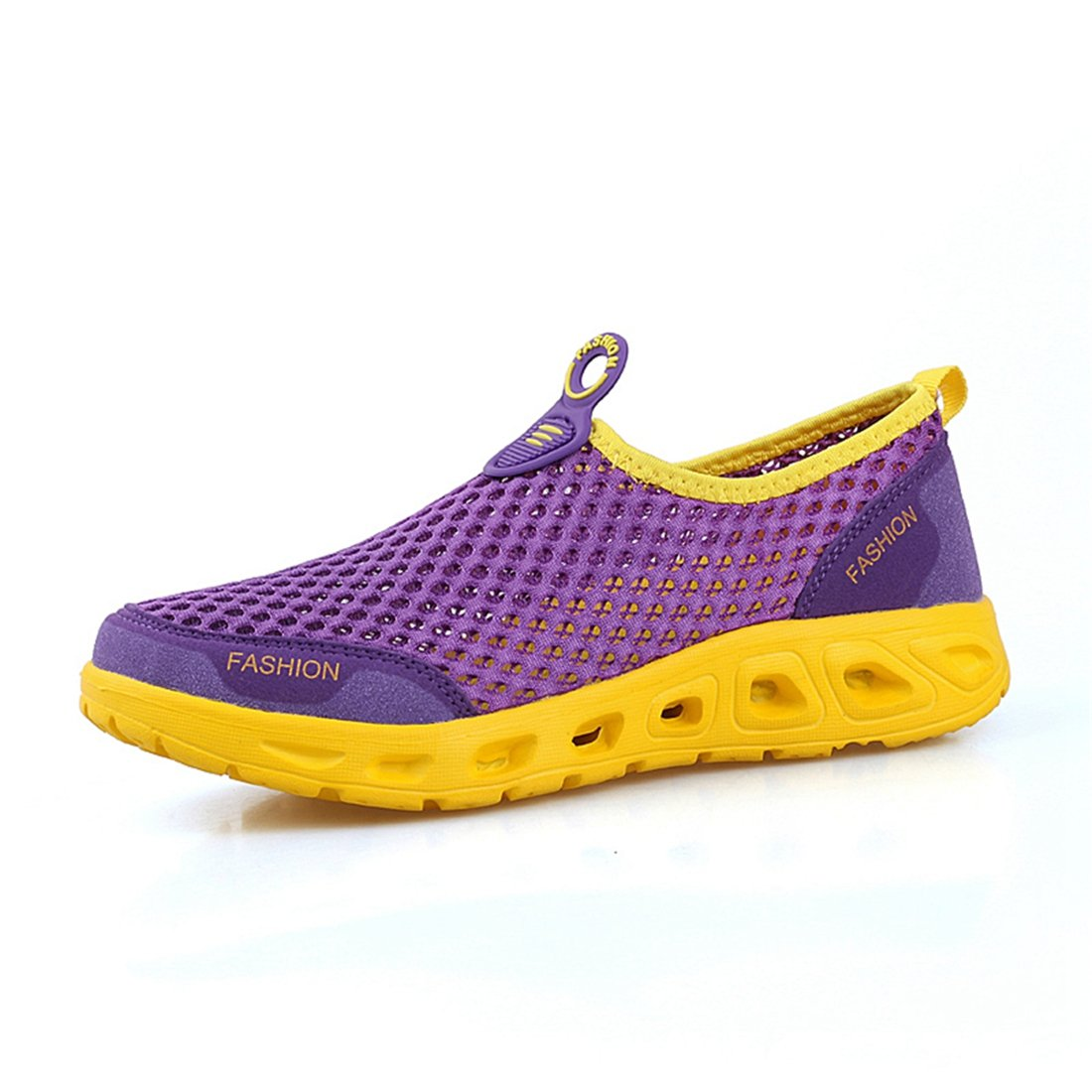 Women's Men's Quick Drying Aqua Water Shoes Mesh Slip On Shoes Purple 250mm:9 B(M) US Women/7 D(M) US Men