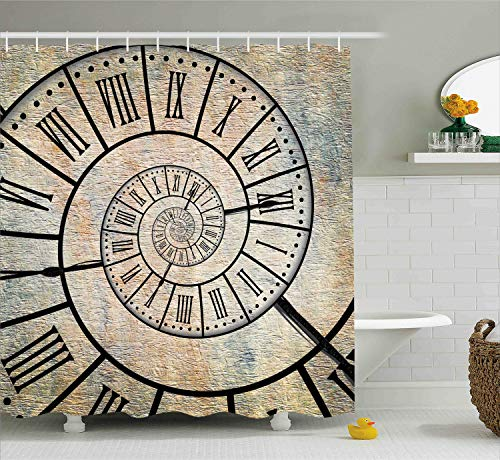 Ambesonne Clock Decor Shower Curtain, A Roman Numeral Time Spiral on The Vintage Textured Background Antique Design Print, Fabric Bathroom Decor Set with Hooks, 84 Inches Extra Long, Sepia