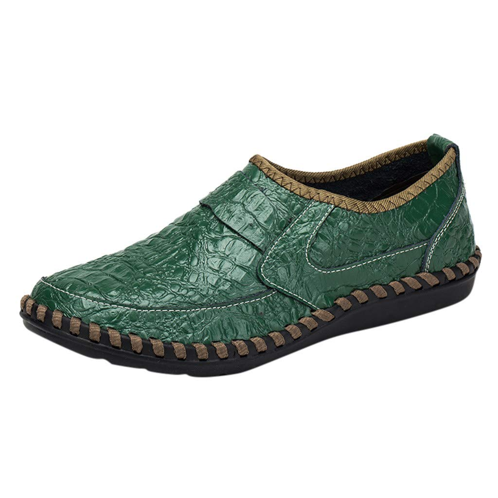 Shusuen Men's Vintage Noble Loafer Shoes Slip-on Loafer Smoking Slipper PU Loafer Green by Shusuen