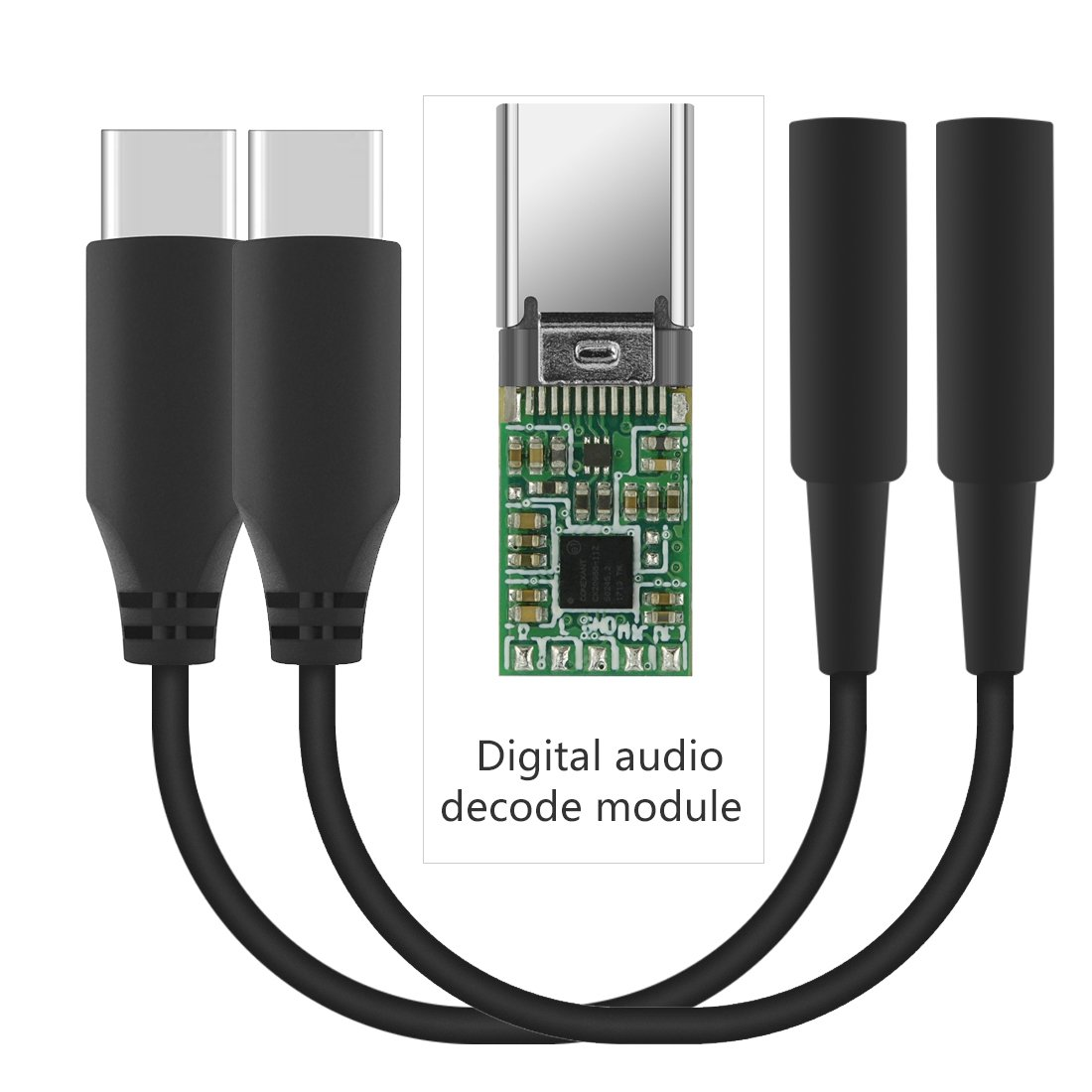Geekria QuickFit Type C to AUX, Type-C to Audio Adapter, USB-C with Digital Audio Decoder to 3.5mm Headphone Jack Adapter, Headphones Conversion Cord, Compatible with Google Pixel 2/XL (2 PCS)