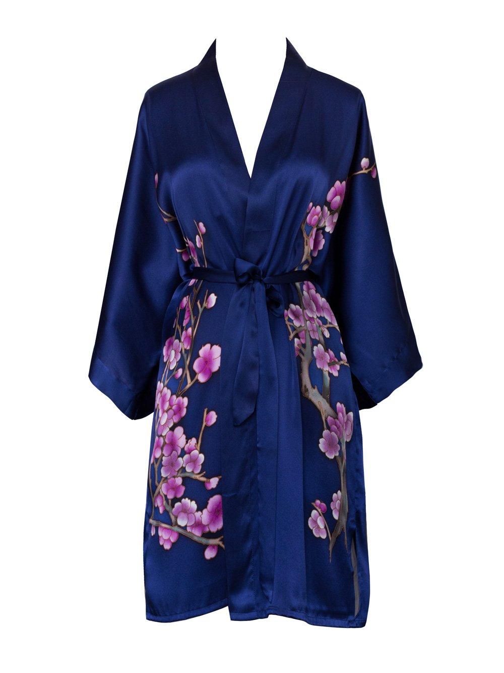 Old Shanghai Women's Silk Kimono Short Robe - Handpainted (Cherry Blossom Navy)