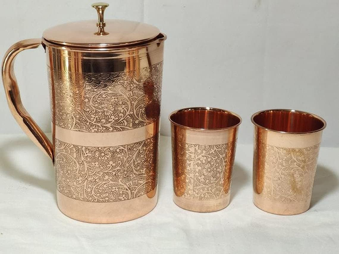Handmade Embossed Pure Copper Drinkware Pitcher Jug - 1600 ML Storage capacity serving water pitcher with matching 2 tumbler glasses, Serving set for home/hotel/restaurant