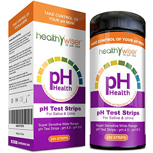 Acid Healthy - pH Test Strips 200ct - Tests Body pH Levels for Alkaline & Acid Levels Using Saliva and Urine. Track and Monitor Your pH Balance & A Healthy Diet, Get Accurate Results in Seconds. pH Scale 4.5-9