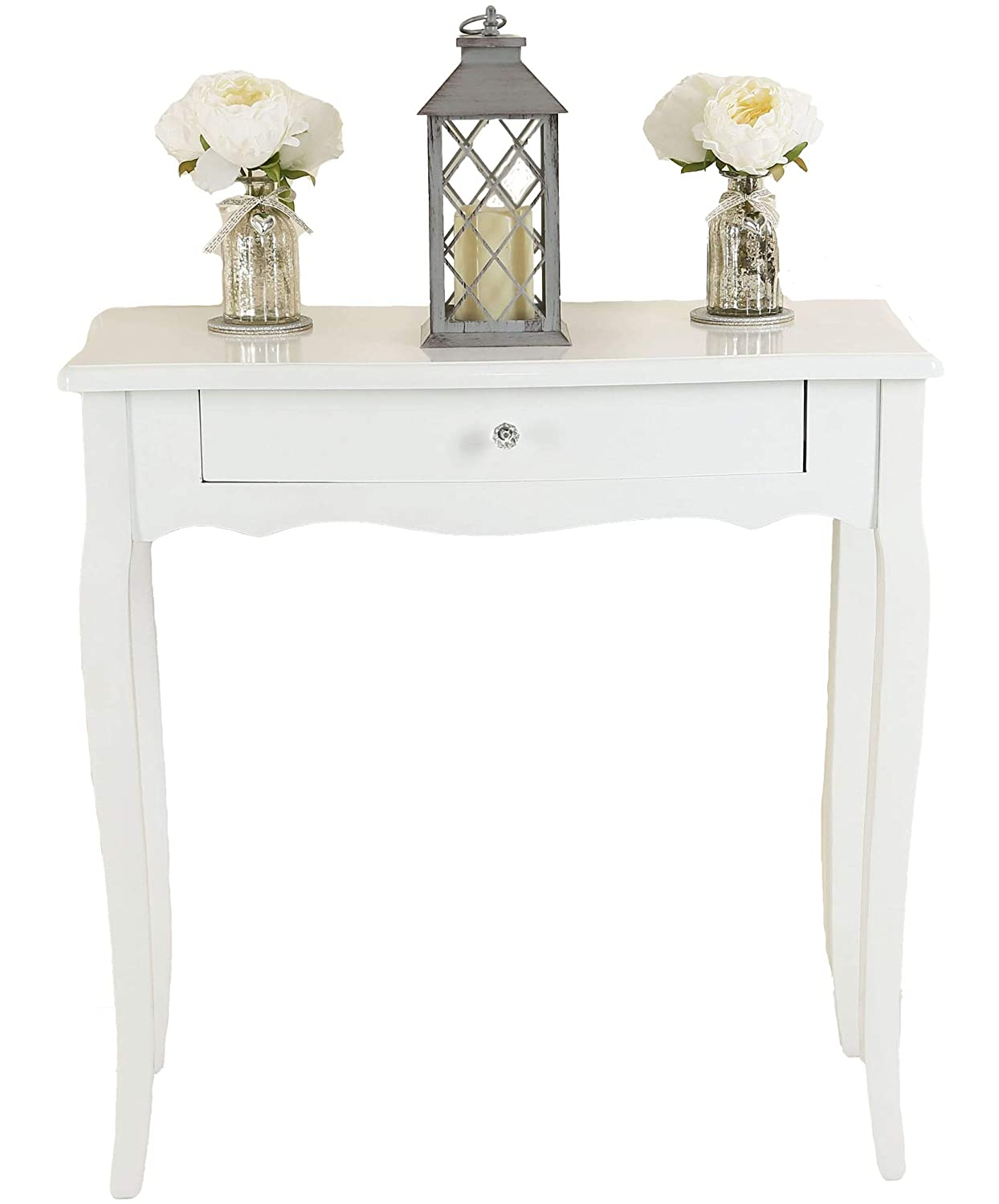 Chic Dressing Table Drawer Wood Hallway Bedroom Furniture Console Table White UK