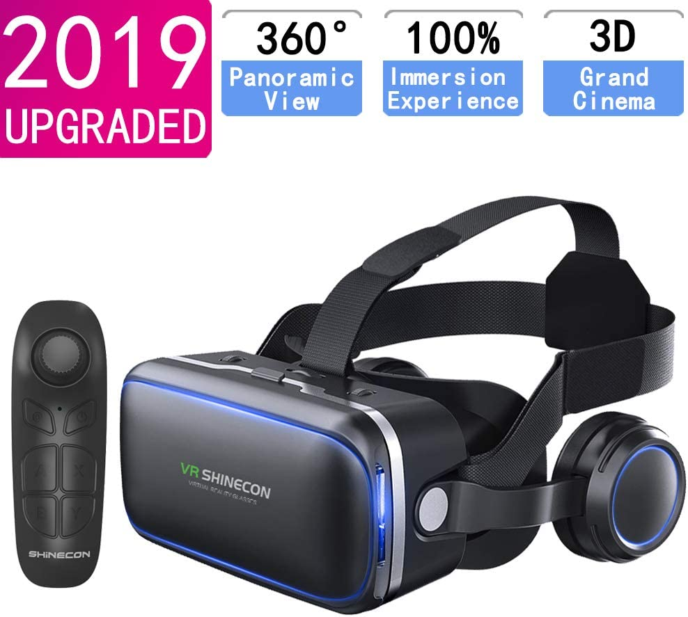 VR Headset for iPhone & Android Phone,3D VR Glasses for TV,Movies & Video Games,VR Headset with Remote Controller,Virtual Reality Headset for iPhone/Android Phone Compatible 4.7-6 inch