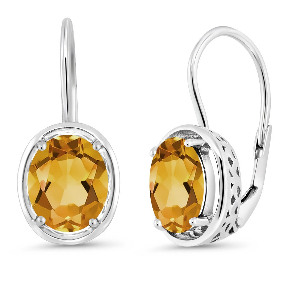 3.00 Ct Oval Yellow Citrine 925 Sterling Silver Dangle Earrings