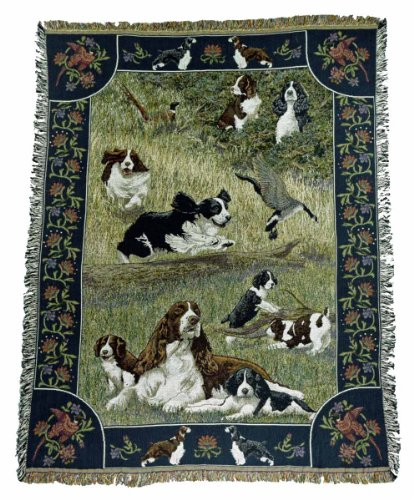 Gone Doggin English Springer Spaniel Blanket Throw #1 - Exclusive Dog Art in Tapestry for Dog Lovers