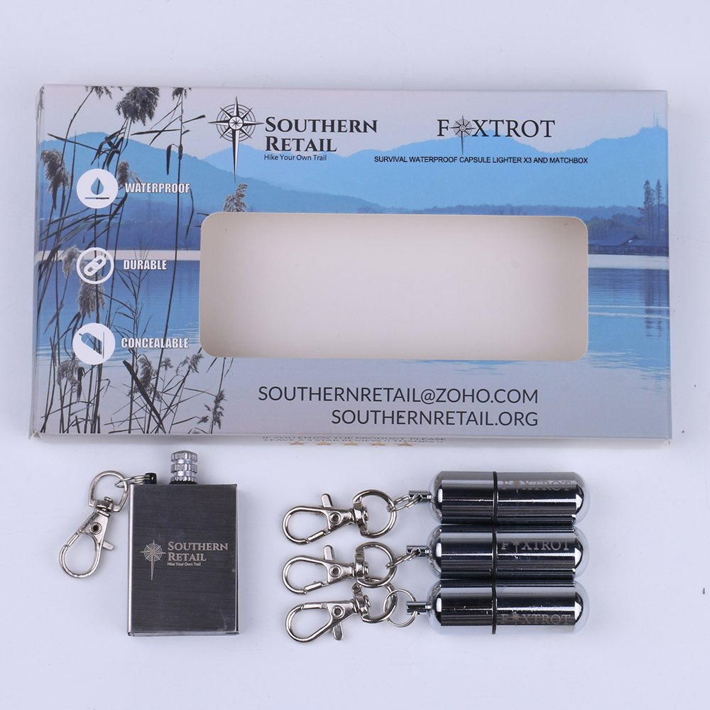 FOXTROT Survival Capsule Peanut Lighter X3 with Waterproof Shell includes Reusable Stainless Steel Matchbox Flint Striker by FOXTROT (Image #3)