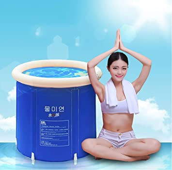 Plegable bañera de barril del baño de tina de baño de adultos inflable, bañera cubo de plástico grueso. (Tamaño : M)