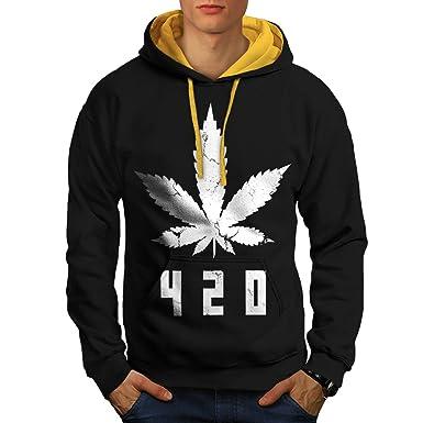 White Cannabis Leaf Weed Plant Men XXL Contrast Hoodie | Wellcoda